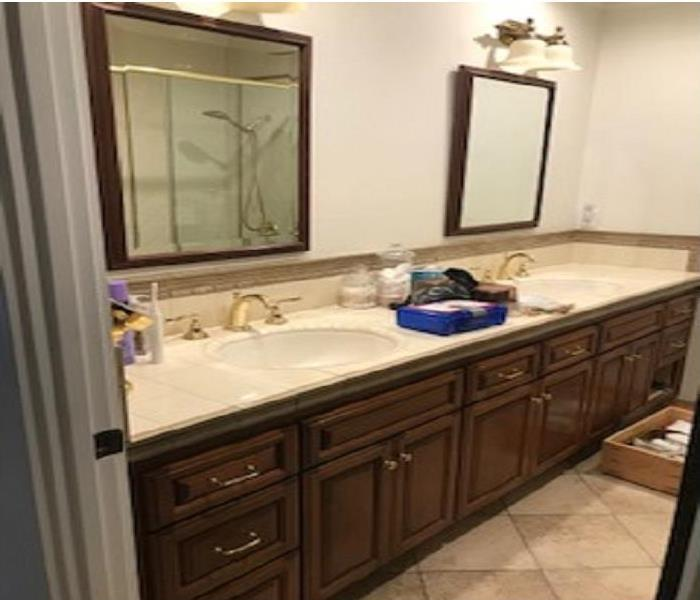 Bathroom vanity with 2 sinks and 2 vanity mirrors with dark wood cabinets