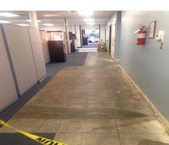 Office hallway with wet marks on the floor and the carpet torn out.