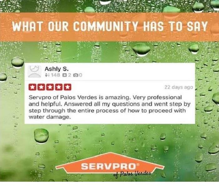 A testimonial of one of our satisfied customers on a Servpro logo.
