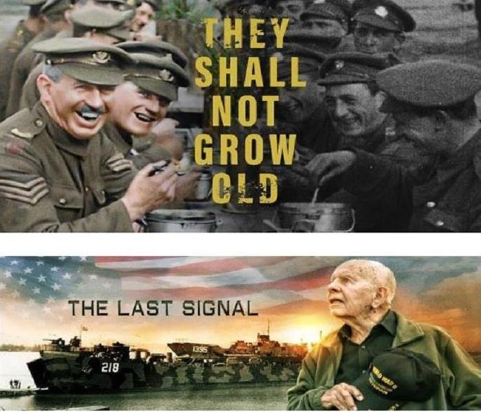 Movie poster with the titles:THEY SHALL NOT GROW OLD and THE LAST SIGNAL