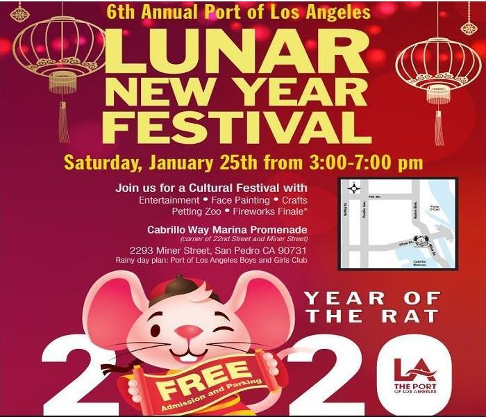 "Red flyer with a smiling rat holding a sign ""Free Admission"" for Lunar New Year Festival"