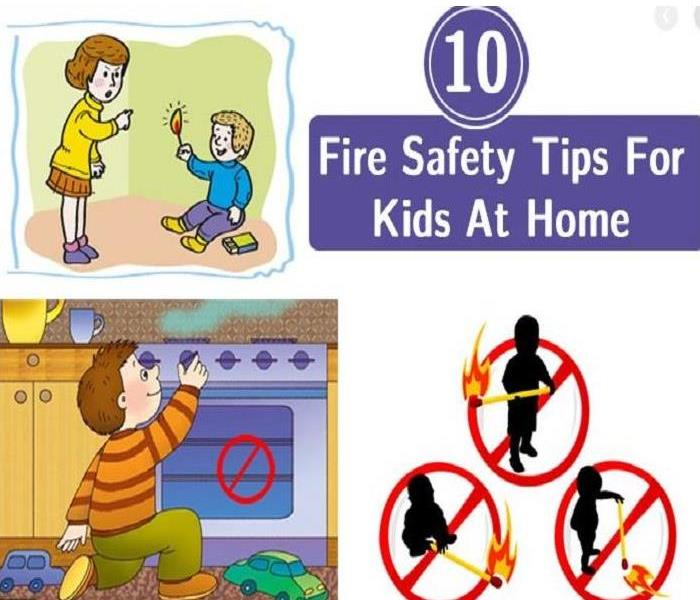 Cartoon figure of a mother scolding her child for holding matches, also with the text of 10 Fire Safety Tips for Kids at Home