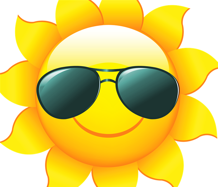 Cartoon sun with sunglasses