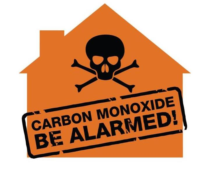 Outline of an orange home that has a skull and bones in the center. Stamped right under is Carbon Monoxide: Be Aware