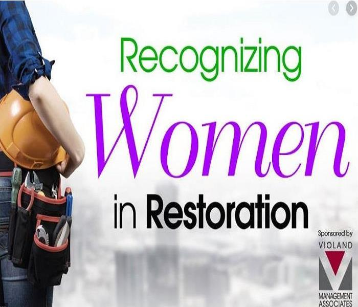 Half body shot of a woman holding a hard hat with a tool belt, with the text of Recognizing Women in Restoration